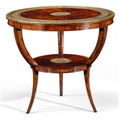 Carved Leg Mahogany and Brass Center Table