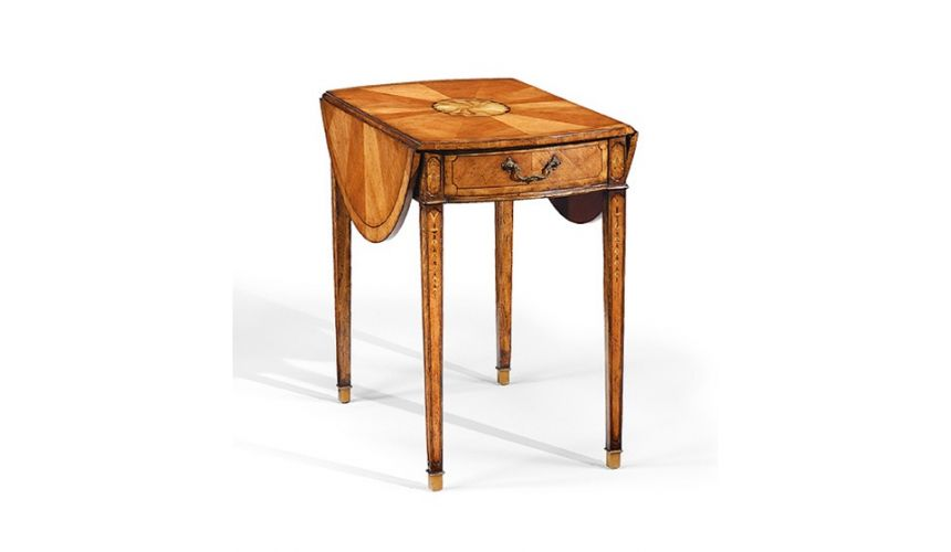 Square & Rectangular Side Tables Square Luxury Satinwood Large Pembroke Table, Lamp & Bedside
