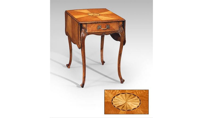 Square & Rectangular Side Tables Rectangular Luxury Furniture Satinwood Pembroke Table - Side, Lamp & Bedside
