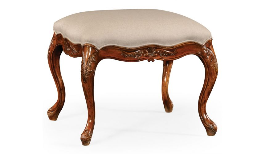 Luxury Leather & Upholstered Furniture Quality Upholstered Furniture Footstool, Ottoman in Medium Walnut