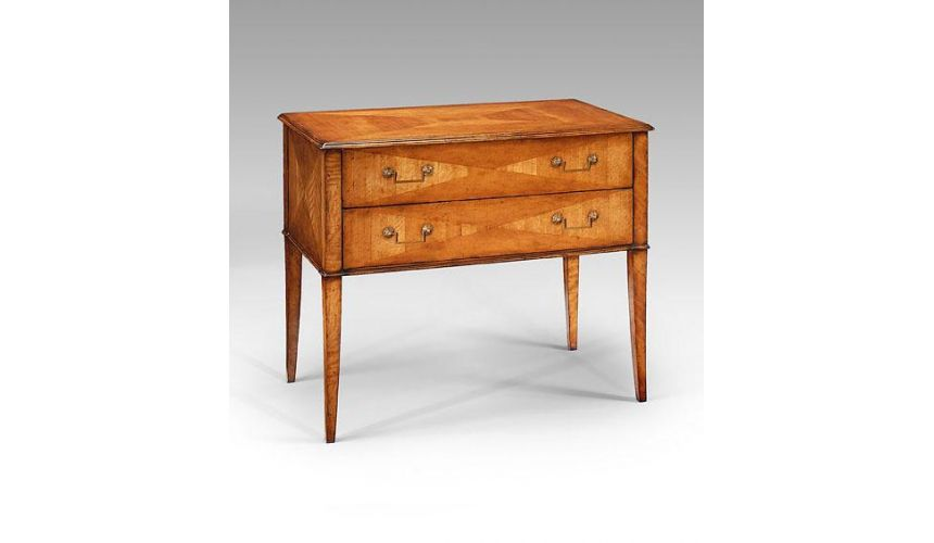 Square & Rectangular Side Tables Chest Of Two Drawers in Medium Satinwood