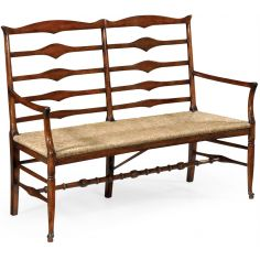 Country style Walnut Ladder Back Two Seat Bench-05