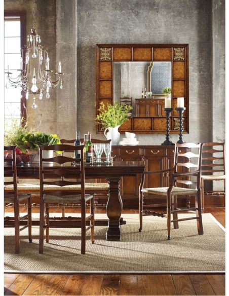 Foyer and Center Tables Country style Walnut Ladder Back Two Seat Bench-05