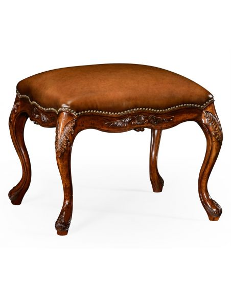 Luxury Leather & Upholstered Furniture Quality Upholstered Furniture Leather Footstool.