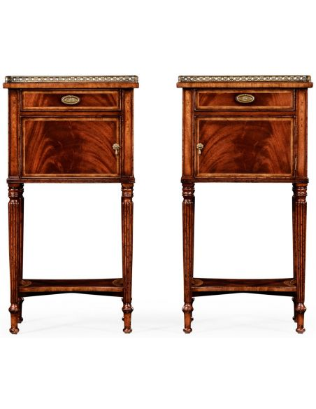 Square & Rectangular Side Tables Regency style Mahogany Bedside Cabinets-24