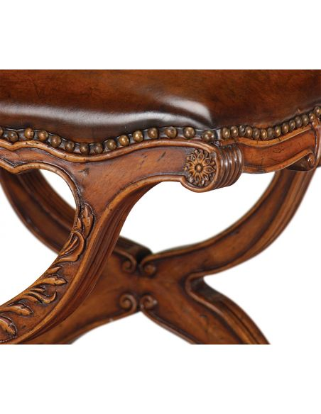 Round & Oval Side Tables Walnut Neo-Classically Footstool-43