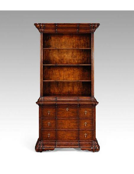 Breakfronts & China Cabinets High End Furniture Home Office Bookcase On Chest in Dark Walnut