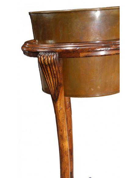 Foyer and Center Tables Walnut Brass Jardiniere Planters-01