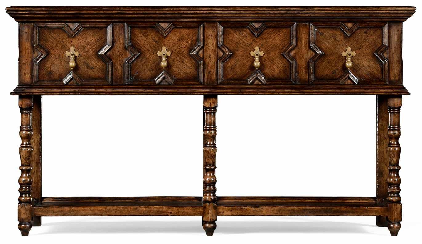 Tudor Style Distressed Dark Oak Sideboard 80