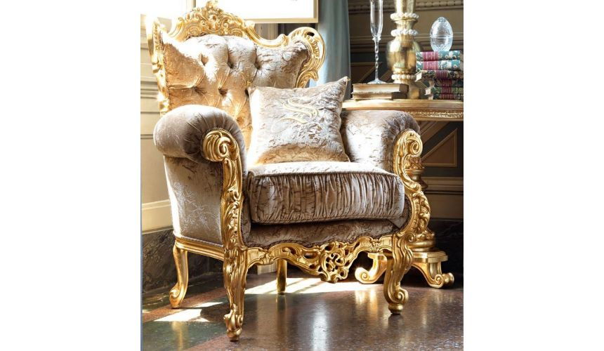 Luxury Leather & Upholstered Furniture Tufted Upholstered Armchair