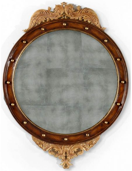 Decorative Accessories Walnut & gilt round embellished mirror (Large)