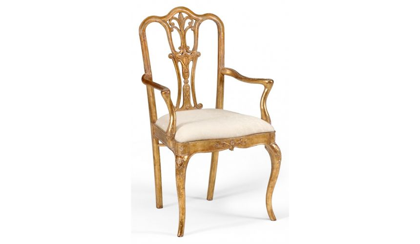 Dining Chairs 18th Century style Gilded Walnut Armchair-39
