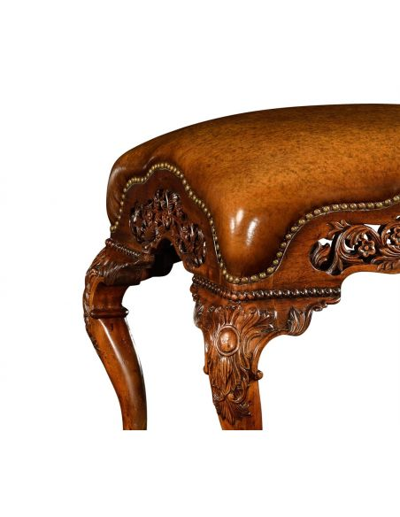 Luxury Leather & Upholstered Furniture Leather Upholstered Furniture Carved Footstool