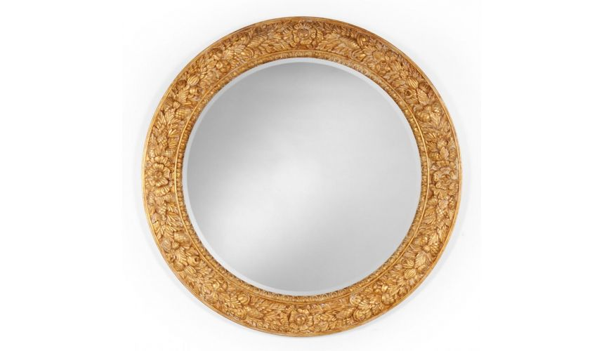 Decorative Accessories Round Hand Carved Mirror Home Accessories
