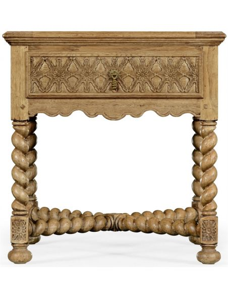 Gothic Style Furniture Light oak square side table
