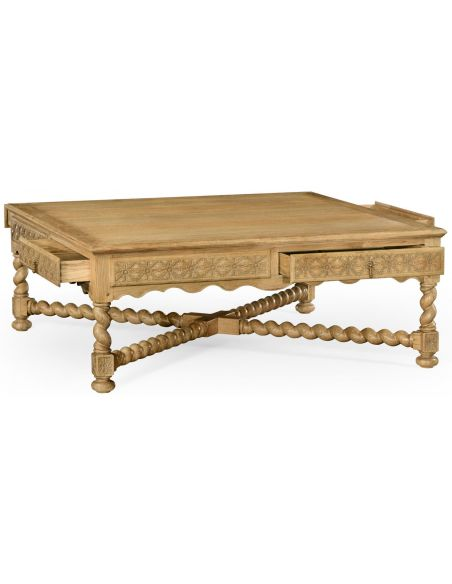 Coffee Tables Light oak square distressed coffee table