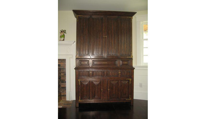 Entertainment Centers, TV Consoles, Pop Ups Entertainment center Dark Brown Oak Cabinet with Linen-Fold Doors
