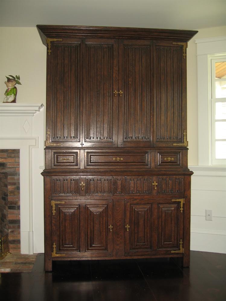 Entertainment center Dark Brown Oak Cabinet with Linen ...