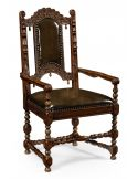 Dining table furniture. Carved oak arm chair