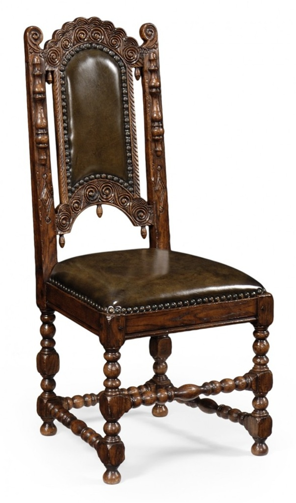 Dining table furniture high carved oak side chair for Dining room end chairs