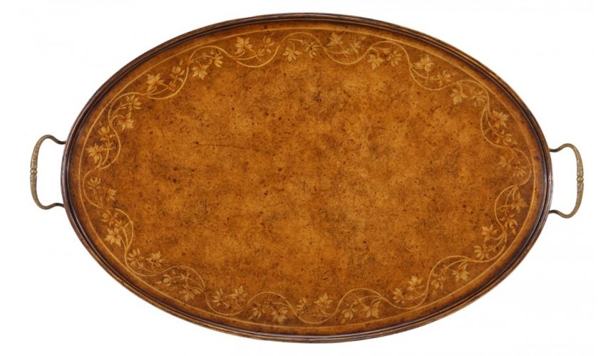 Square & Rectangular Side Tables Large Oval Serving Tray-12