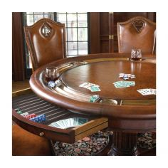 Luxury high end leather top card table for six with drawer