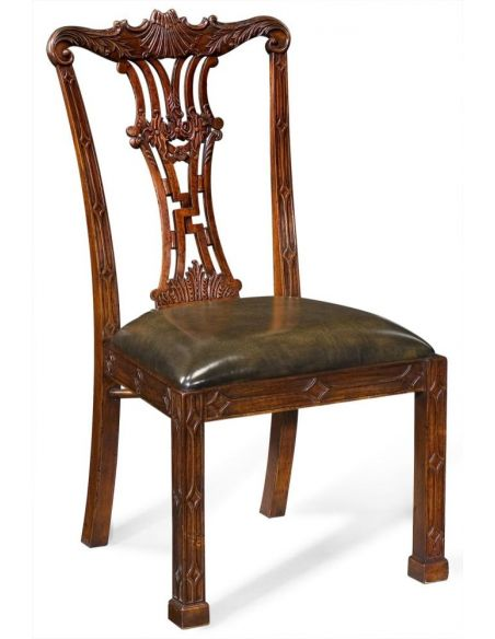 Dining Chairs High End Dinning Room Furniture Carved Back Side Chair