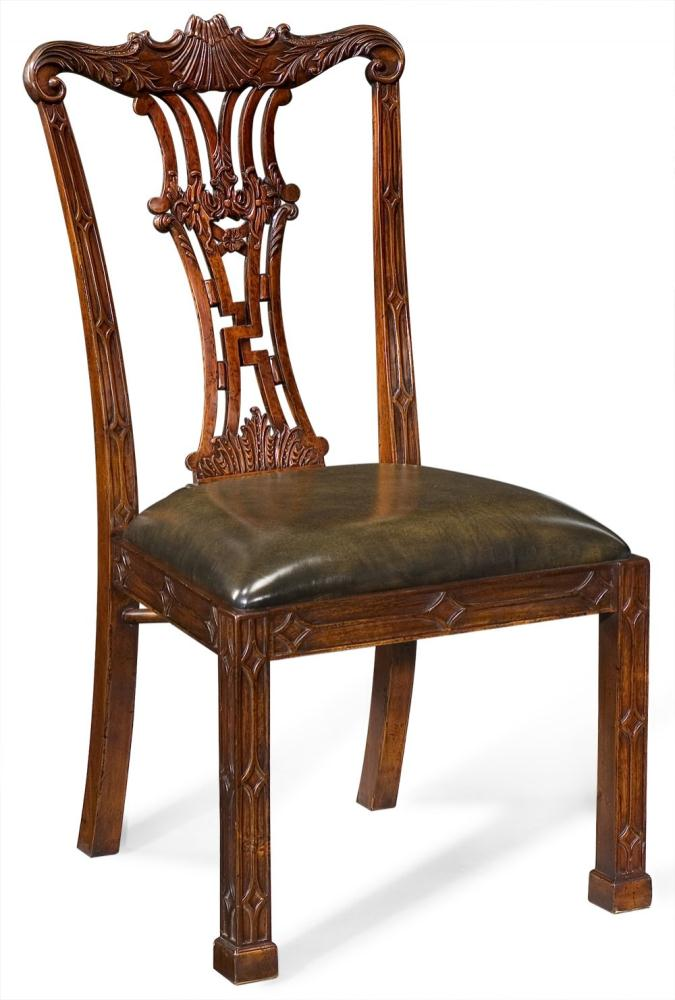 High end dinning room furniture carved back side chair for Dining room end chairs