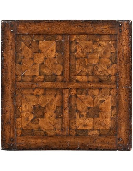 Square & Rectangular Side Tables Heavily Distressed Walnut Side Table-13