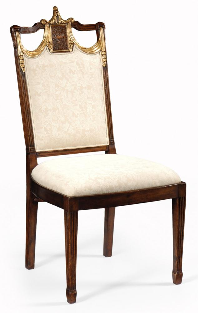 High end dinning room furniture side chair in medium walnut for High end dining room furniture