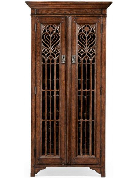 Breakfronts & China Cabinets Oak Heavily Distressed Tall Wine Cabinet-26
