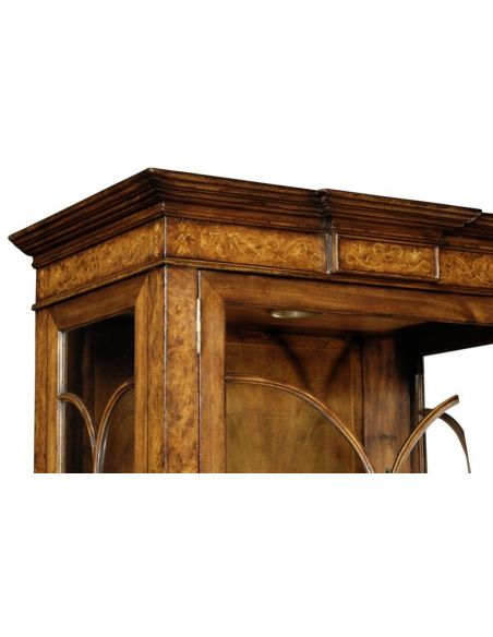 Breakfronts & China Cabinets Fine Furniture Display Cabinet in Medium Walnut Burl