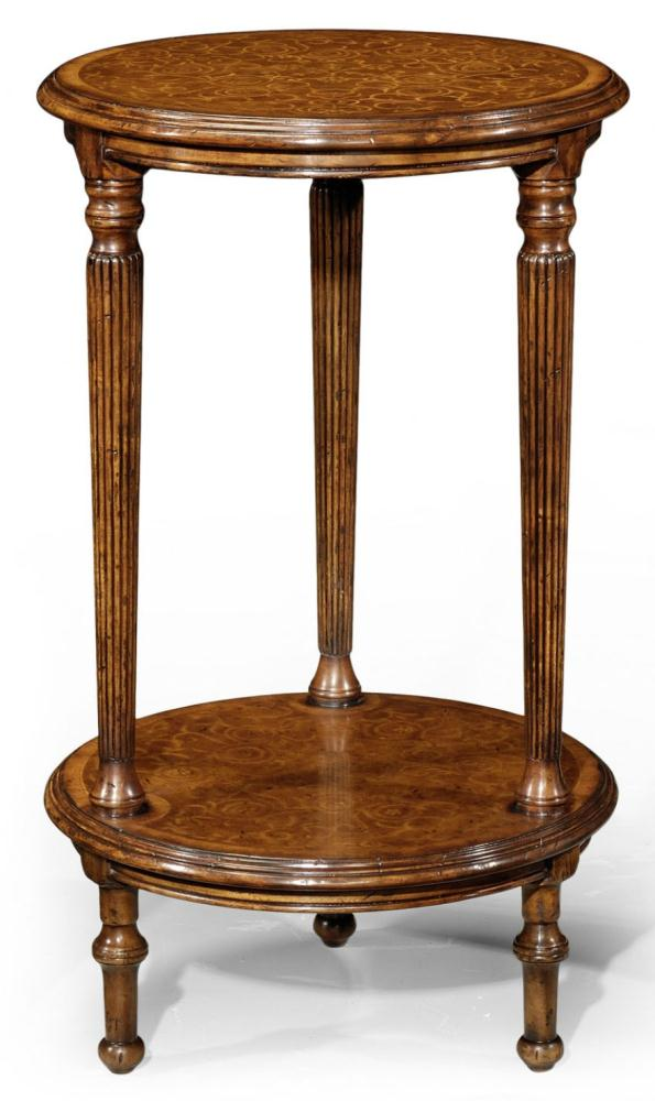 High Quality Furniture Round Lamp Table With Seaweed Marquetry Top