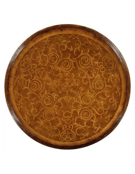 Round & Oval Side Tables High Quality Furniture Round Lamp Table with Seaweed Marquetry top