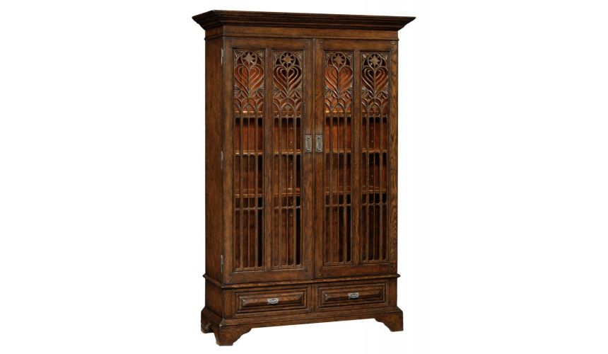 Breakfronts & China Cabinets Fine Furniture Display Cabinet with Dark Brown Oak