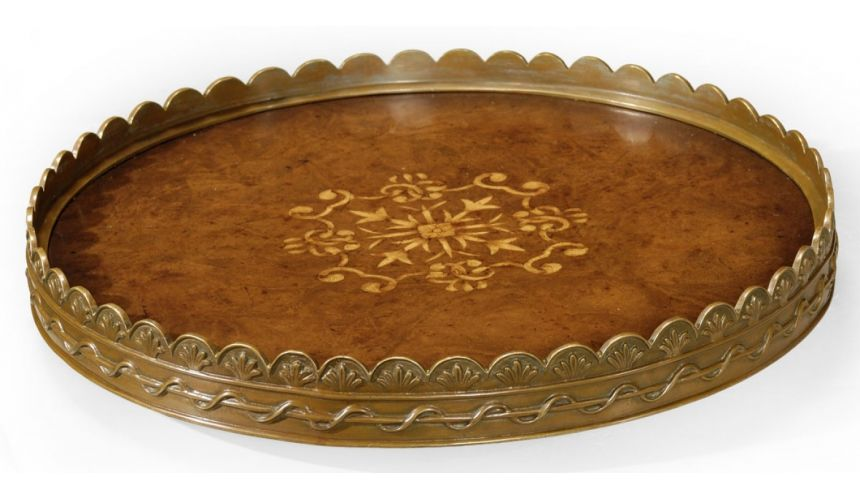Decorative Accessories Walnut Veneer Round Serving Tray-58
