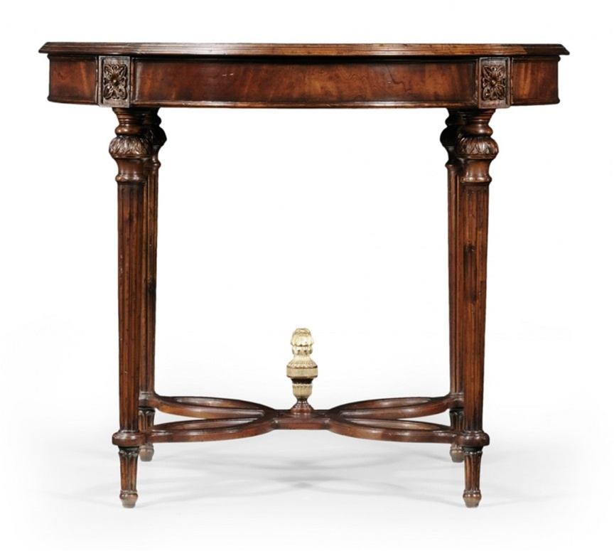 High End Furniture Round Center Table In Medium Mahogany