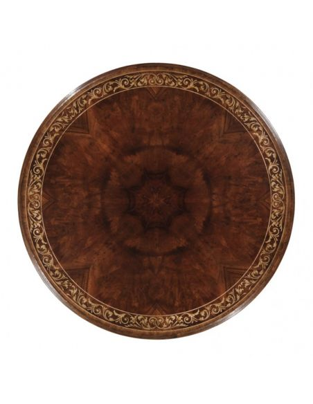 Round & Oval Side Tables High End Furniture Round Center Table in Medium Mahogany