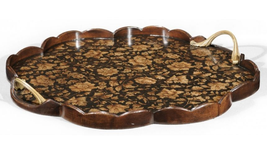 Decorative Accessories Regency Chinoiserie style Walnut Scalloped Tray-72