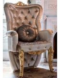 Premium royal accent chair with plush intricate gold leafed carvings