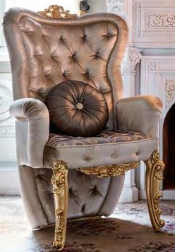 Lovely Luxury Leather U0026 Upholstered Furniture Premium Royal Accent Chair With  Plush Intricate Gold Leafed Carvings