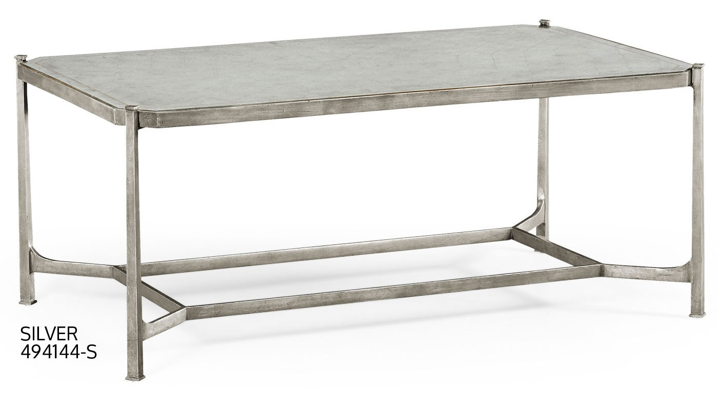 Contemporary Rectangular Glass Top Coffee Table 46