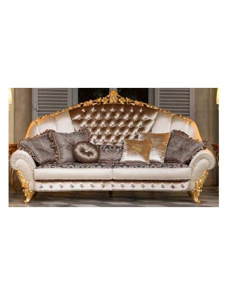 SOFA, COUCH & LOVESEAT Swimming pools and movie stars for this luxurious tufted sofa