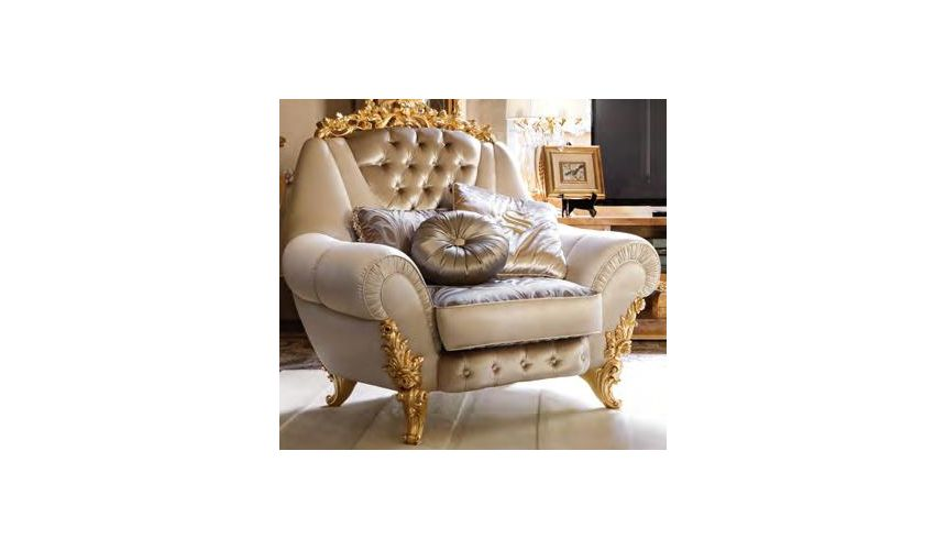 Luxury Leather & Upholstered Furniture Swimming pools and movie stars for this exuberant tufted armchair