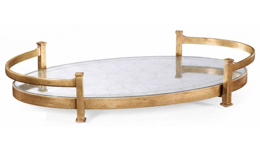 Square & Rectangular Side Tables Contemporary Iron Large Oval Serving Tray-02