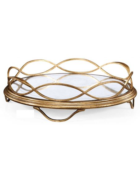 Round & Oval Side Tables Contemporary Iron Circular Serving Tray-241