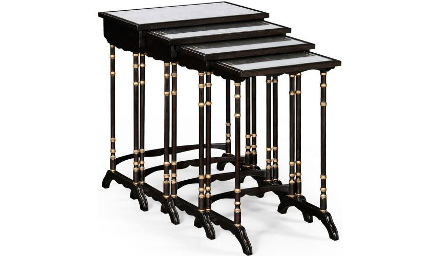 Square & Rectangular Side Tables Black Painted Nesting Three Table-42