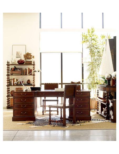 Executive Desks Georgian style Walnut Desk Organizer-71