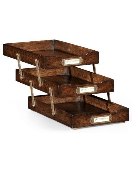 Square & Rectangular Side Tables Oak Three-Tiered Collapsible Desk Tray-82