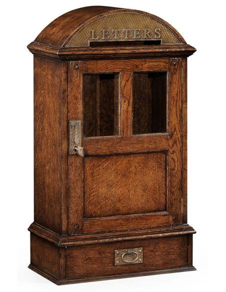 Foyer and Center Tables Oak Desktop Letterbox with Lockable Glazed Door-92